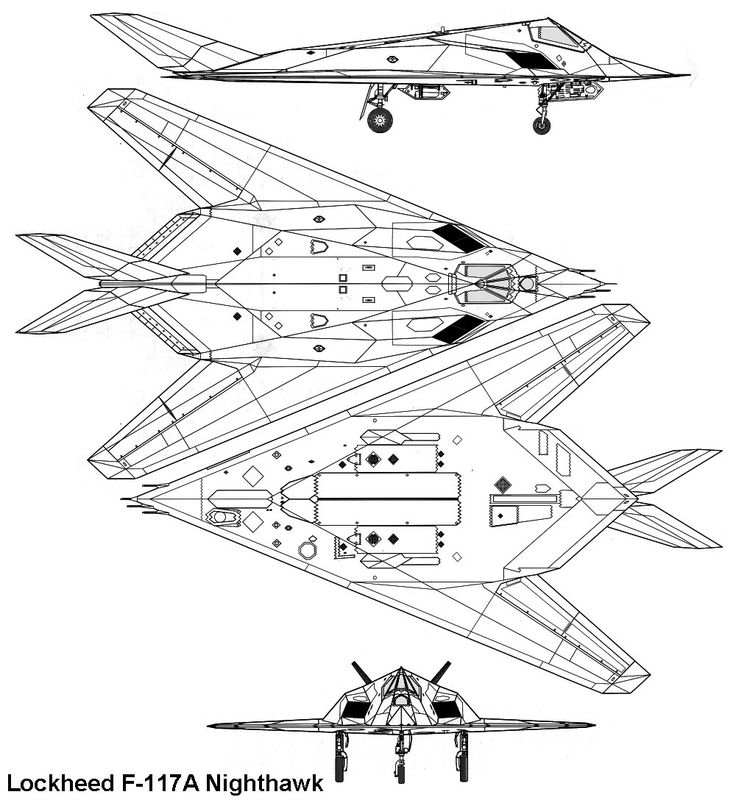 F 117 Stealth Fighter Drawing Lockheed F-117A Nighth...