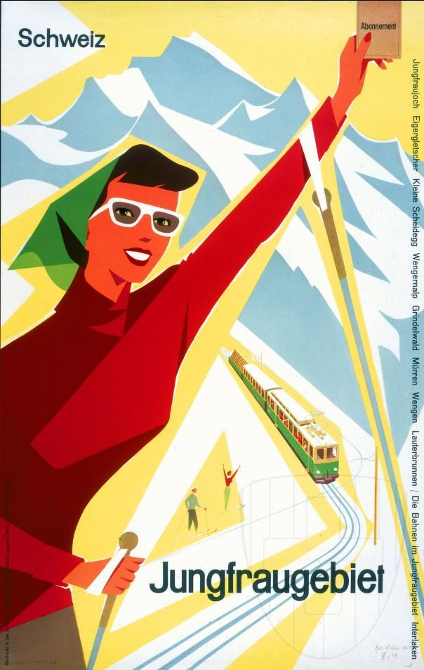 Poster by Ed Weber for Jungfrau Railways, 1954. Swiss Posters Collection