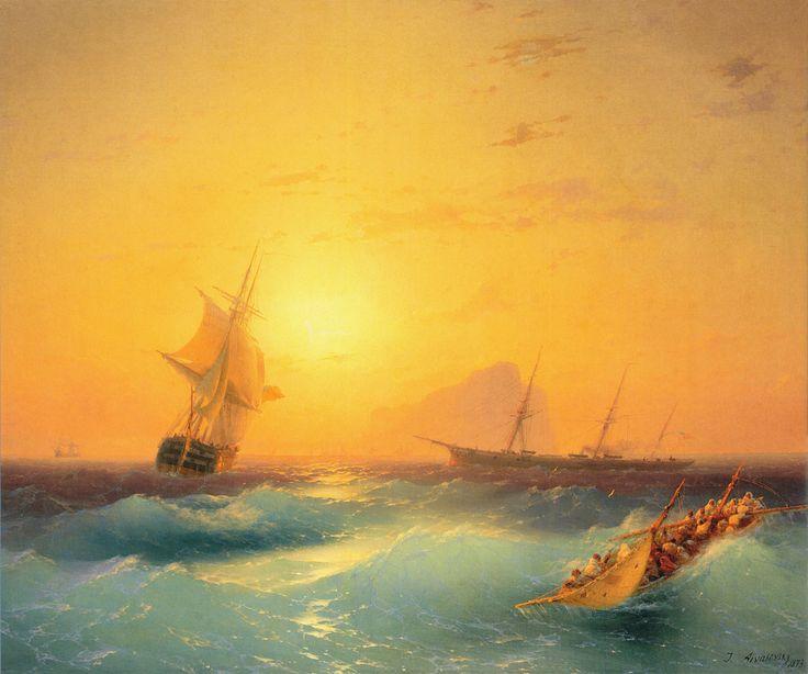 Ivan Aivazovsky, American Shipping off the Rock of Gibraltar, 1873. #art