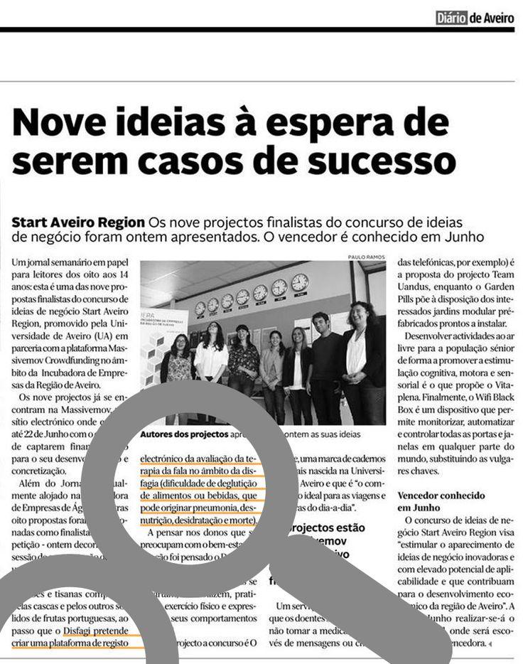 O sucesso desta ideia também depende de si. Até 22 de junho pode apoiar a DISFAGI pré-finalista do concurso de ideias de negócio Start Aveiro Region em www.massivemov.com/disfagi.
