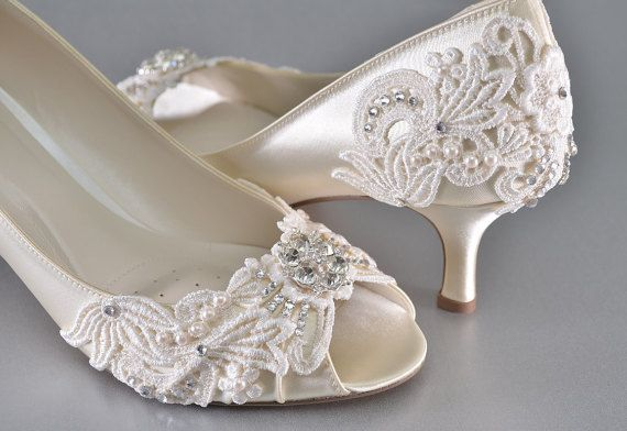 CURRENT TURNAROUND TIME FOR BRIDAL SHOES: http://www.etsy.com/shop/pink2blue/policy  Medium Heels ~ To view some of my other high heel bridal shoes, check the link below: https://www.etsy.com/shop/Pink2Blue?section_id=13286558 All Bridal Shoes: https://www.etsy.com/shop/pink2blue?ref=si_shop  These gorgeous bridal shoes are an exquisite example of what Pink2Blue offers. They are elegant and beautiful for the bride that prefers heels for her wedding day.  The shoes are made in Medium Sizes…
