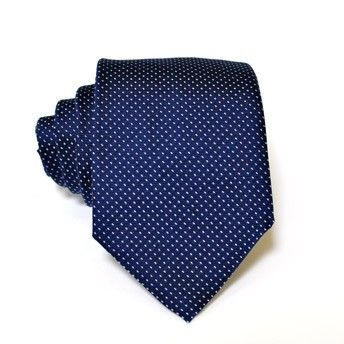 Jacquard tie, 100% silk, blue with classic azure microdesign (small dots). Ideal for less formal occasions but also special occasions. Pattern and color of this elegant tie can fit with any outfit.