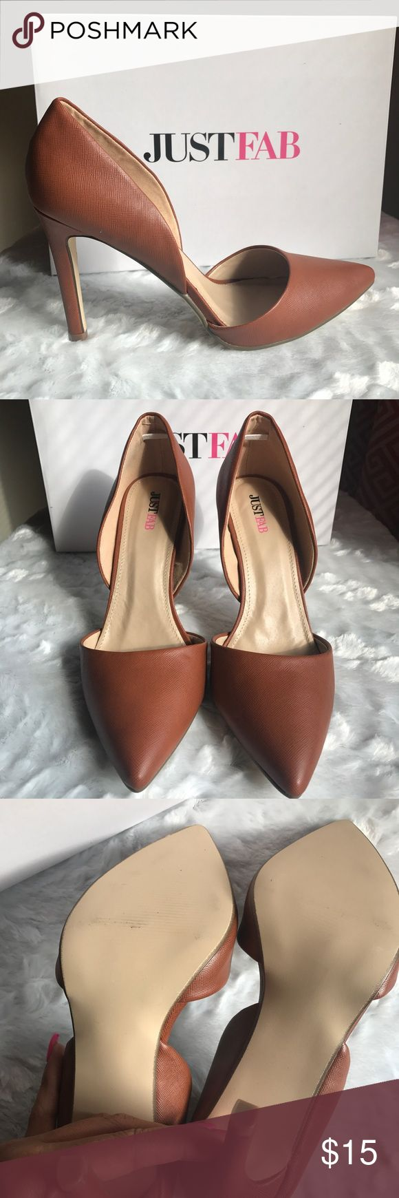 JUSTFAB Cognac Heels Great go to pump. Cognac color goes great with many outfits. Looks great with denim skinny jeans. Faux leather. 3.75 inch heel. JustFab Shoes Heels