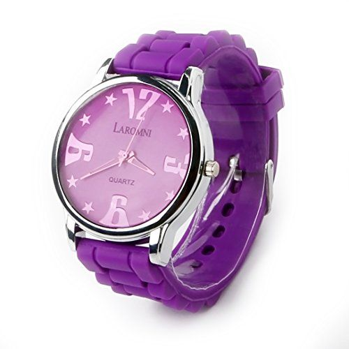 Laromni Silicone Circular Business Casual Fashion [Scratch Resistant] Sport Wrist Watch. [Water Resistant] [Stainless Steel] Cover Material. Great for Men Boys Girls Ladies Women Children Kids and Giving Gifts- (Purple)