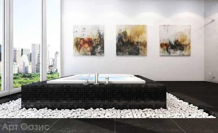 Модульные картины смотрятся прекрасно в любом места дома. Такое необычное решение с разделённым на части изображением - это отличное украшение для Вашей ванной комнаты. Но какие картины подходят для ванной больше всего? В первую очередь, конечно, изображения с водной тематикой и абстракция. Дальше уже можно ориентироваться на Ваш собственный вкус, а также цвет и фактуру помещения. #artoasis #art #oasis #artoasisru #оазисискусства #декорвдоме #мойдекор #мойинтерьер #декордлядома…