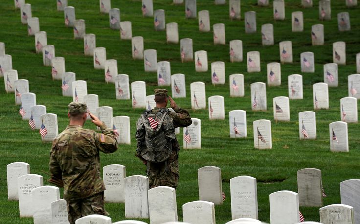 Soldiers from the 3rd U.S. Infantry Regiment (Old Guard) salute as Taps is heard nearby during 'Flags-in', where a flag is placed at each of the 284,000 headstones at Arlington National Cemetery, ahead of Memorial Day, in Arlington, Virginia, U.S., May 25, 2017. REUTERS/Kevin Lamarque via @AOL_Lifestyle Read more: https://www.aol.com/article/news/2017/05/25/us-soldiers-plant-thousands-of-flags-at-cemetery-in-memorial-day/22110184/?a_dgi=aolshare_pinterest#fullscreen