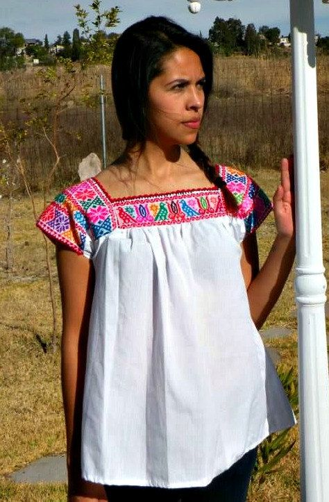 Mexican blouse, mexican hand made embroidered blouse