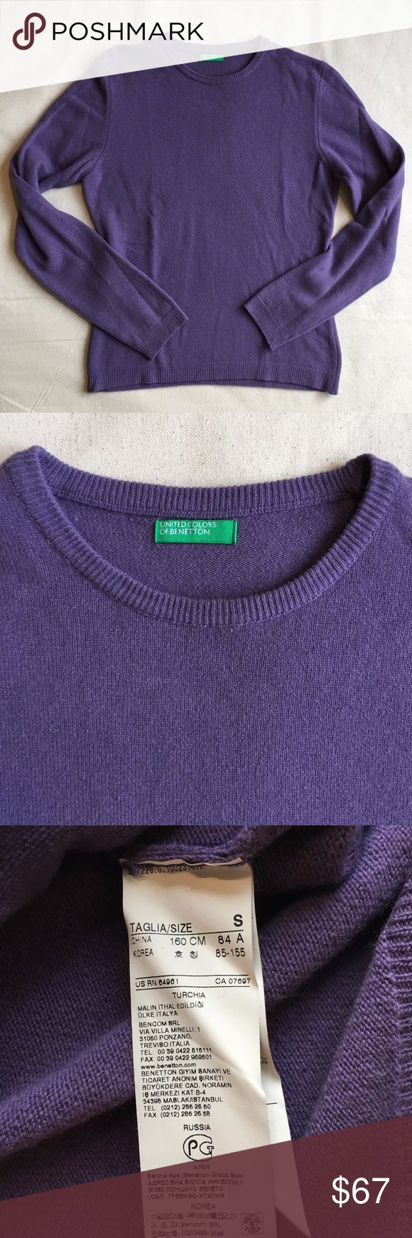 United Colors of Bennetton Crew Wool Sweater SMALL Purchased in Italy, a classic United Colors of Bennetton sweater in EXCELLENT vintage condition. A subdued, yet rich hue of purple - gorgeous in person. Fabric 100% wool. Crewneck. Size: Small. United Colors Of Benetton Sweaters Crew & Scoop Necks