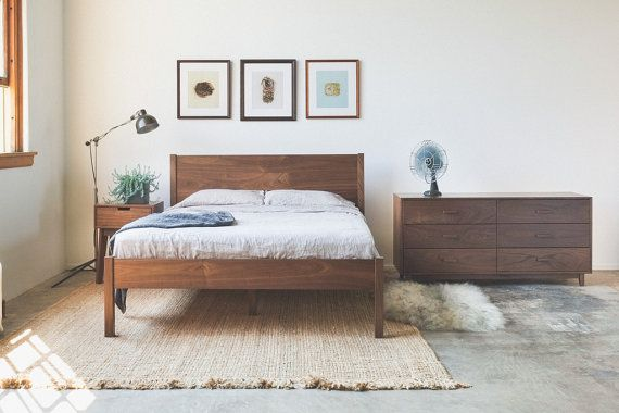Solid Walnut Bed Frame and Headboard  Available in by hedgehouse, $1395.00 by @Hedge House