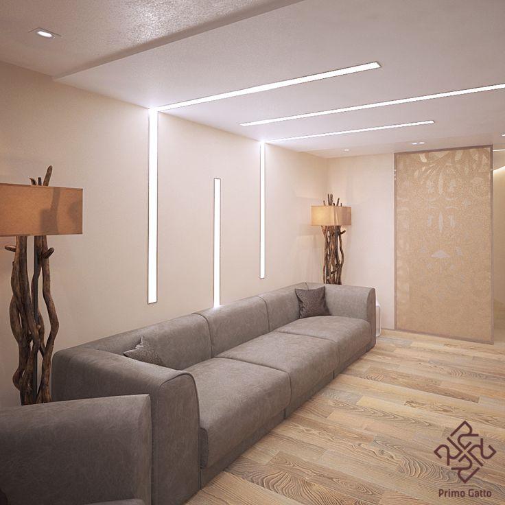 Зал, кухня и столовая квартиры в современном стиле представляют собой общее пространство. Зона зала может отделяться раздвижными стеклянными перегородками с пескоструйным рисунком. Как и весь дизайн квартиры в целом, зал решен лаконично, с применением интересных планировочных решений. Особый интерес представляют линейные встроенные светильники, которые плавно переходят с потолка на стену, образуя оригинальную композицию. #Primogatto_interior_project #primogatto