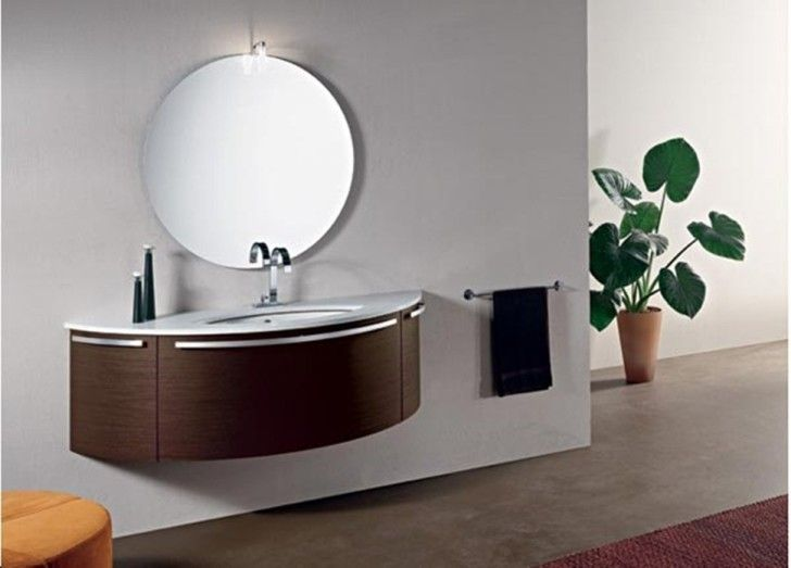 High Quality Bathroom, The Unbelievable Round Shaped Mirrow In The Bathroom Vanities  Modern Stylish Inspiration For You And White Wall: Cool Small Bathro.