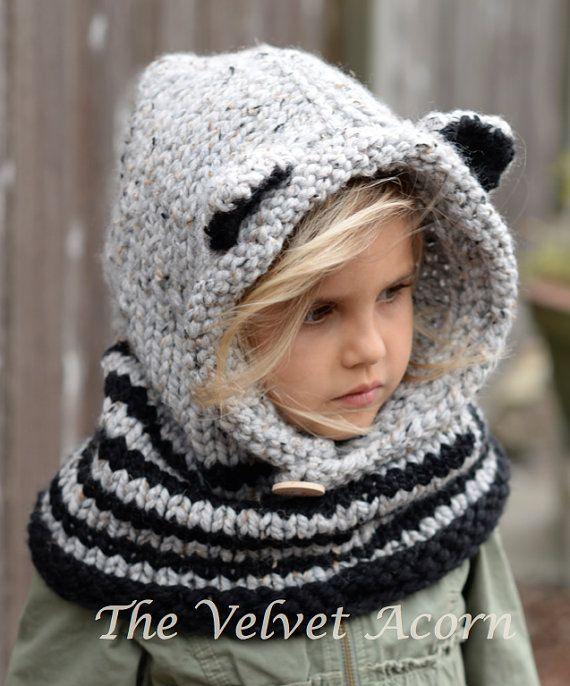 Listing for KNITTING PATTERN ONLY of The Ryder Raccoon Cowl.    This cowl/hood is handcrafted and designed with comfort and warmth in mind…Perfect