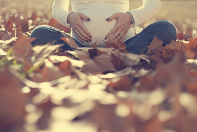 I like this photo a lot!  A special autumn maternity shoot