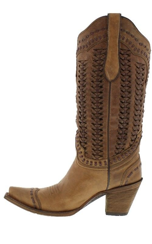 """Corral Women's 13"""" Brown Whip-Stitched Snip Toe Boots - leather laced retro style 