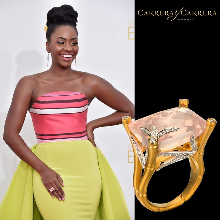 @TeyonahParris, from the hit TV show #MadMen, looked fantastic this week at the red carpet of the #Emmys2014 wearing #CarrerayCarrera Bambú cockatil ring in yellow #gold, #diamonds and soft pink quartz #emmys #jewelry #jewels #joyería #jewelrygram #fashion #fashionjewelry #fashionista #gemstone #gems #bling #style #stylish #stone #stones #trendy #accessories #accessory #love #style #stylish #ootd #teyonahparris