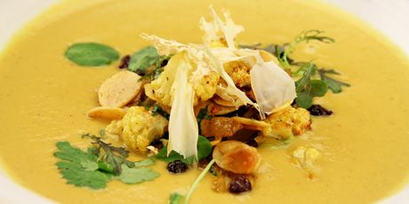 Curry Cauliflower Soup, Currants, Dried Apricots and Toasted Almonds Recipes   Food Network Canada