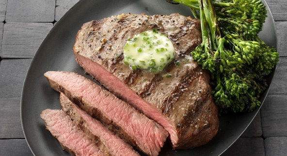 ... BBQ #Grilling Flat Iron Steaks with Herb Butter and Grilled Broccolini