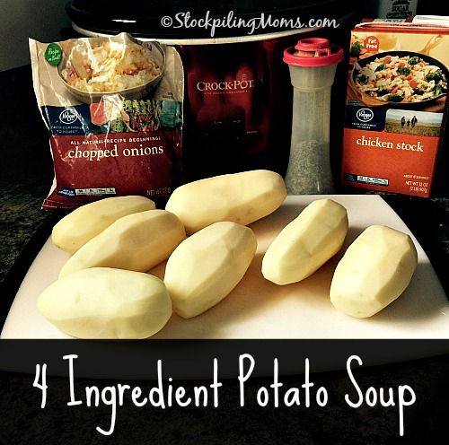Crockpot 4 Ingredient Potato Soup recipe is the perfect dinner on a busy day! It is so easy to dump in the slow cooker and go.