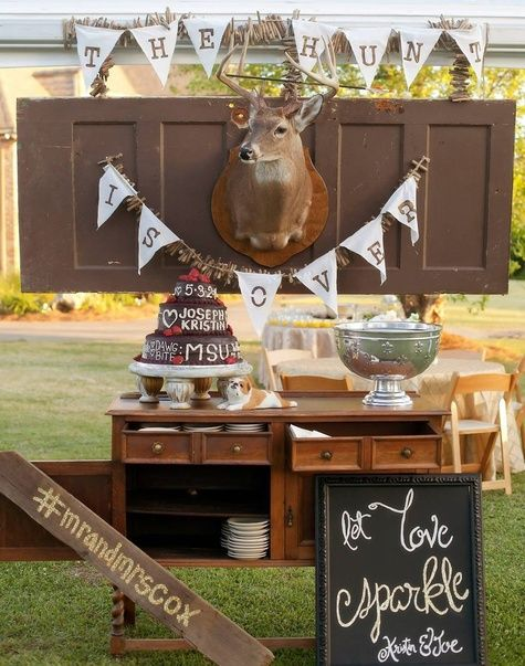 hunting inspired grooms cake table bob smith and melanie thortis theknotcom