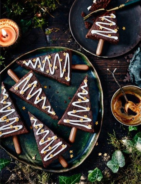 Spiced Christmas tree brownies