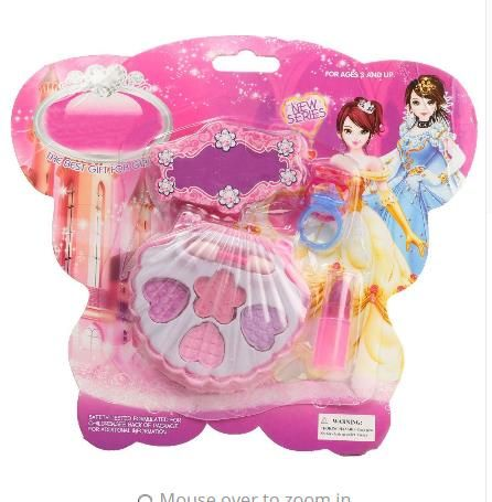 Girls Gift Toys  Lovely Kids Children Girls Gift Toys  $7.50free shipping  You save31%off the regular price of$11.00  Material:Plastic  DescriptionMaterial: plasticSize:Eyeshadow Box : 7.8cm x 7cm / 3.1'' x 2.8''Lipstick: 4cm x 1.3cm / 1.6'' x 0.5''Ring: 1.8cm x 2.3cm / 0.7'' x 0.9''Color: as shownPackage Include: 1set x cosmetics toyFeatures:Beautiful princess makeup series is a versatile DIY DIY products for children 3-12 years of age rich colors non-toxic non-irritating smell easy to…