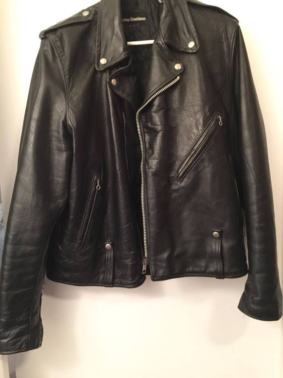 AMF Harley Davidson Black Leather Jacket by LorasVintageShop