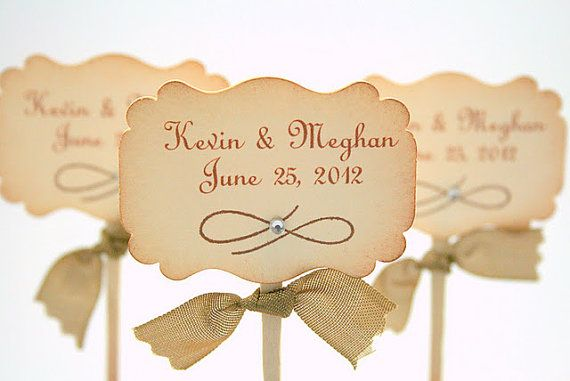 Wedding Cupcake Toppers / Food Picks - Name and Wedding Date - Set of 10 You Choose Ribbon Color