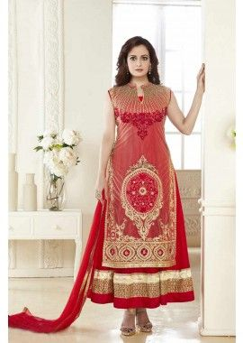 coti = beige, robe intérieure = couleur rouge coti = net, robe intérieure = costume Anarkali net, - 161,00 €, #Robeindienne #Robeindiennemariage #Tenuebollywood #Shopkund