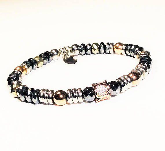 Rose Gold Diamond Pave Bracelet  Stainless Steel Bracelet