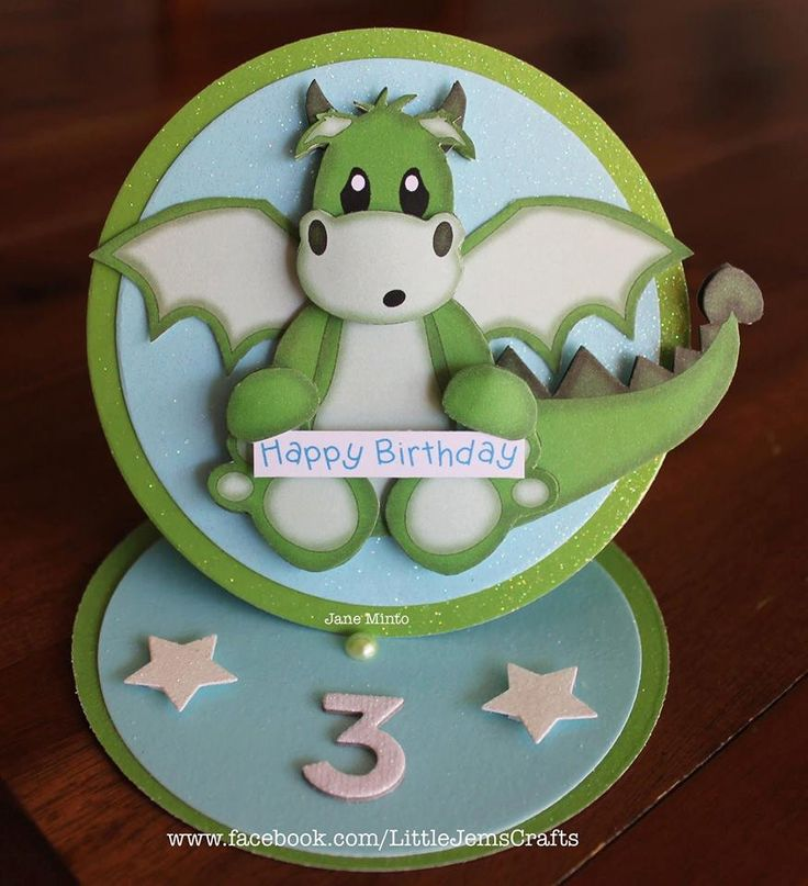 Happy Birthday dragon card - any age - circle easel style - handmade card by…