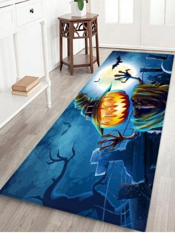 Halloween Pumpkin Monster Pattern Water Absorption Area Rug Décor