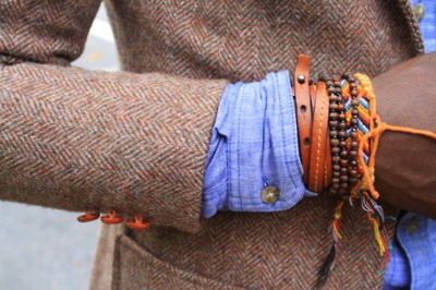 : Men Clothing, Wraps Bracelets, Men Fashion, Gentleman Style, Layered Bracelets, Arm Parties, Arm Candy Bracelets, Tweed Blazers, Leather Bracelets
