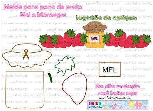 Molde para pano de prato: Pote de Mel e morangos