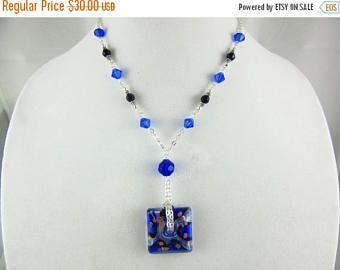 Collana agata blu gioielli in vetro filo avvolto gioielli
