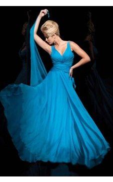 Charmante robe de bal Empire racée Col en V Longueur ras du sol