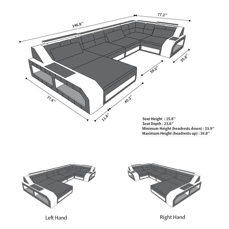 Sectional leather sofa Houston U Shape  #Beleuchtung