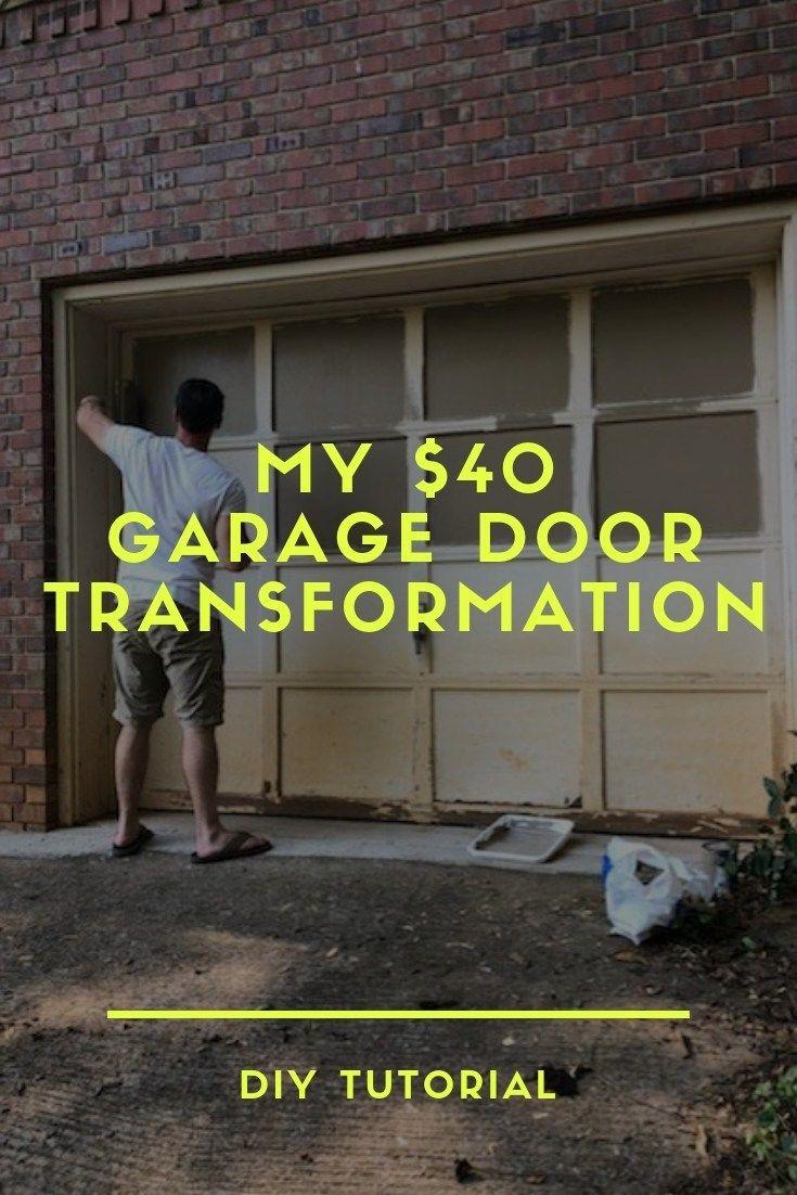 How To Paint Over A Chipped Garage Door Diy Wood Garage Door Transformation On A Budget Diy Garage Door Garage Doors Wood Garage Doors