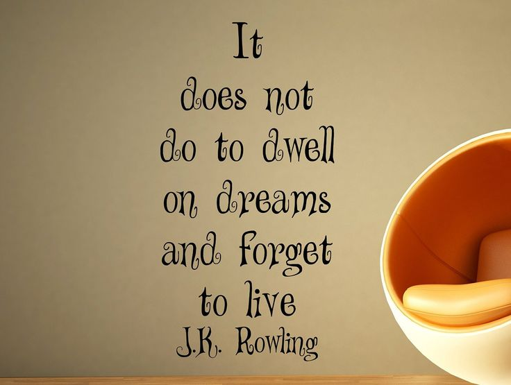 "J.k. Rowling Motivational Typography Quote Wall Decal Office Home Decor ""It Does Not Do to Dwell on Dreams"" 34x17 Inches"
