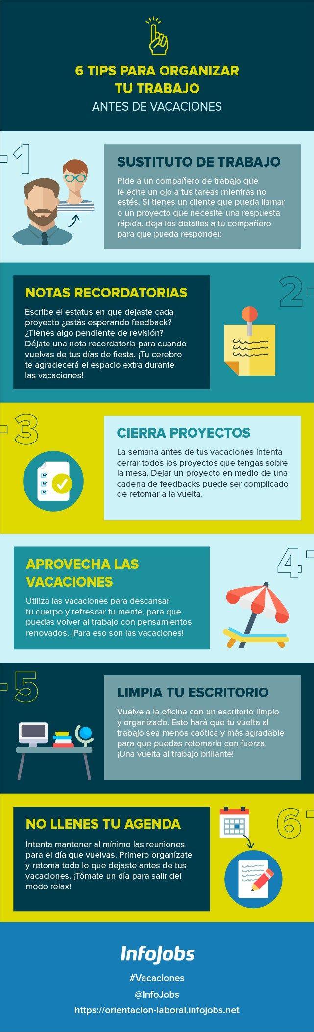 6 consejos para organizar tu trabajo antes de vacaciones #infografia
