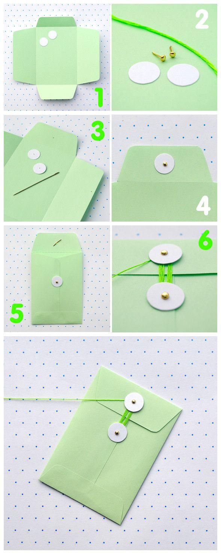 ♥Ideas, Gift, Stuff, Packaging, Crafty, Diy Envelopes, Paper Crafts, Cards, Diy String Ties Envelopes