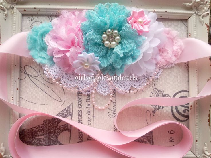 Maternity Sash, Maternity Belt, Bridal Sash, Baby Photo Prop, Newborn Sash, Belly Sash, Pink & Teal, Pearls and Lace by girlsgigglesandcurls on Etsy