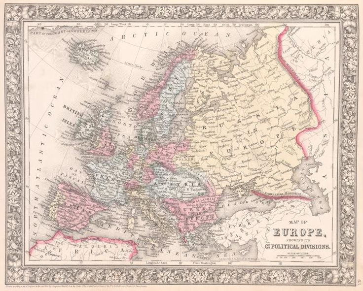 Map of Europe, showing its gt. political divisions. From New York Public Library Digital Collections.