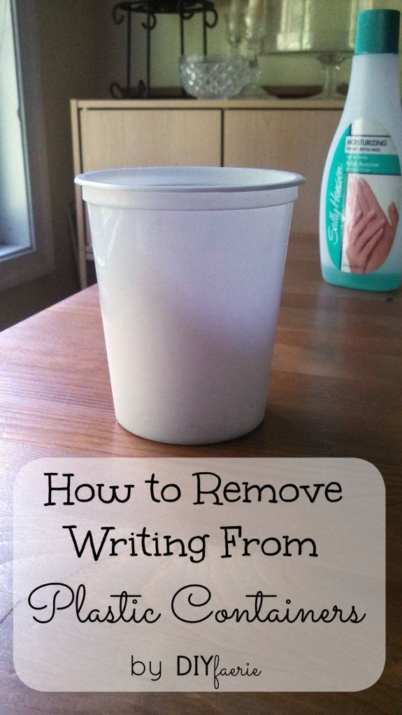 Learn how to remove writing from any plastic container with just TWO ingredients and some elbow grease!  Removing writing from plastic containers allows you to repurpose containers you'd otherwise throw out!