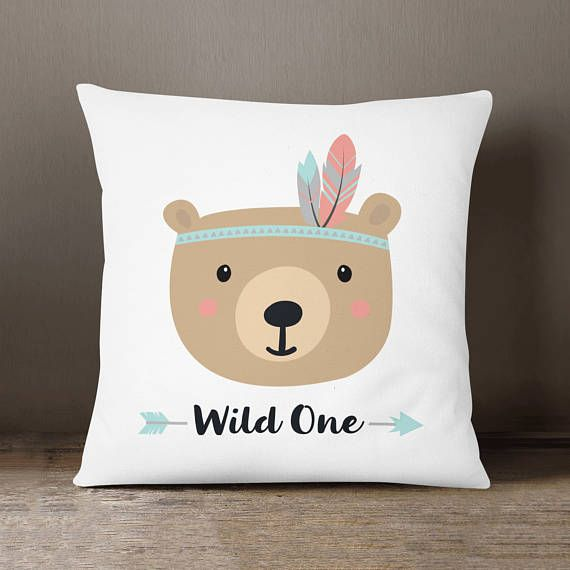 Tribal Bear Pillow Kids Room Decor Tribal Cushion Kids Cojines