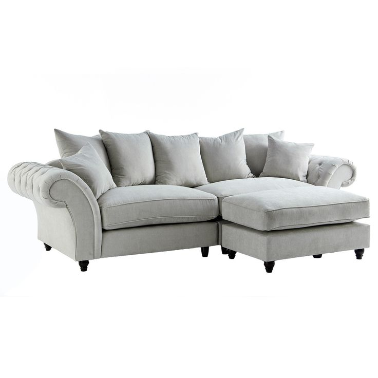 Dove Stone Buttoned Sofa & Footstool Set