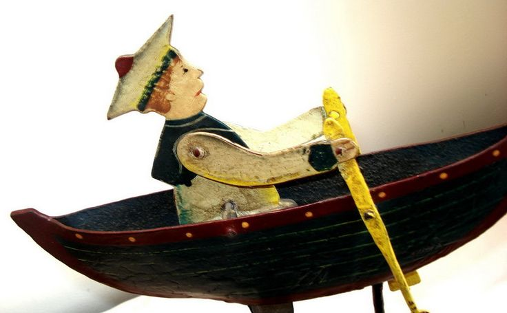 OLD antique Large Cast Iron Sailor Boat painted balance TOY folk art Mobile Listing in the Other,Vintage & Antique,Toys & Hobbies Category on eBid Canada