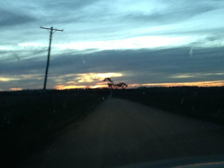 Sunset leaving Dangers Gorge, near Armidale, NSW.