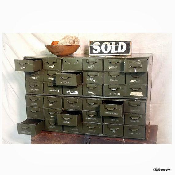 vintage industrial cabinet industrial storage lyon metal parts organizer metal file. Black Bedroom Furniture Sets. Home Design Ideas