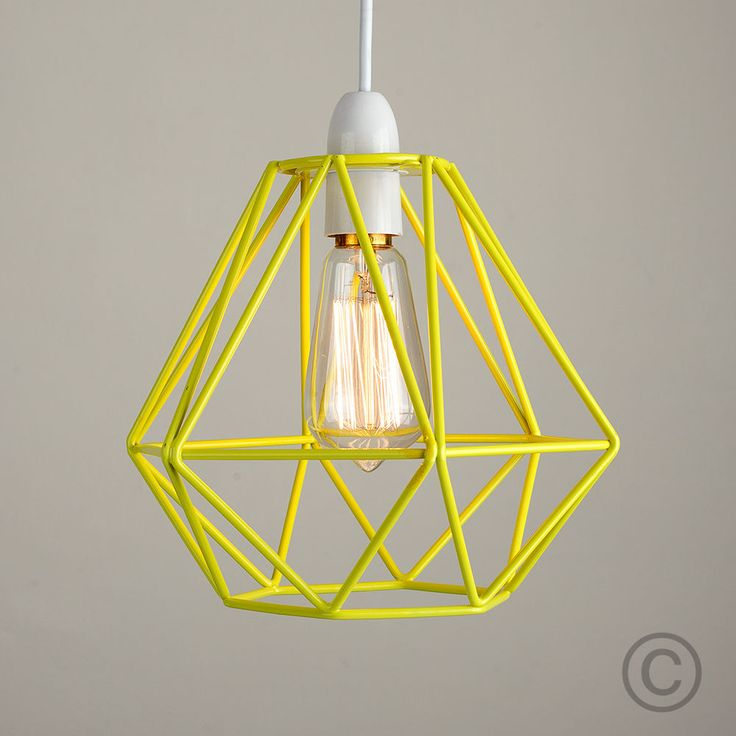 Details About Modern Yellow Metal Wire Frame Ceiling Light