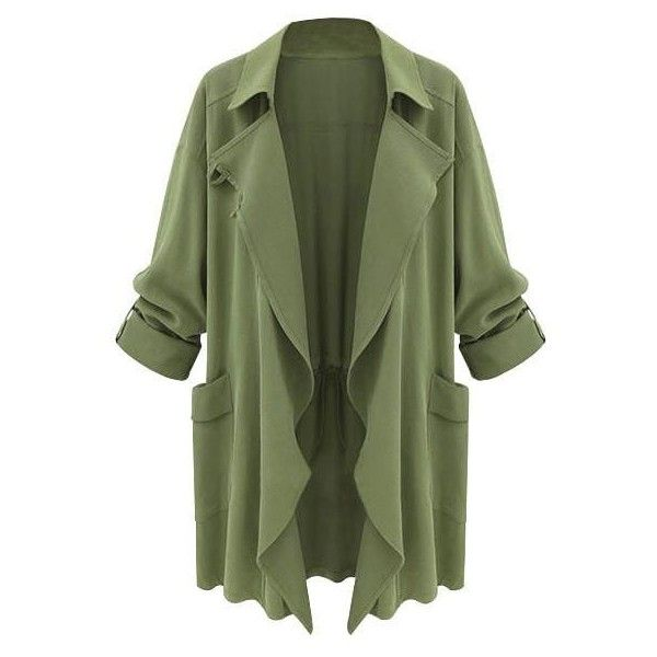 Moss Green Draped Cardigan Lookbook Store (£22) ❤ liked on Polyvore featuring tops, cardigans, drapey top, drape top, green cardigan, drapey cardigan and cardigan top